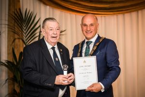 Fred receiving award from Cllr Charles Goldstein